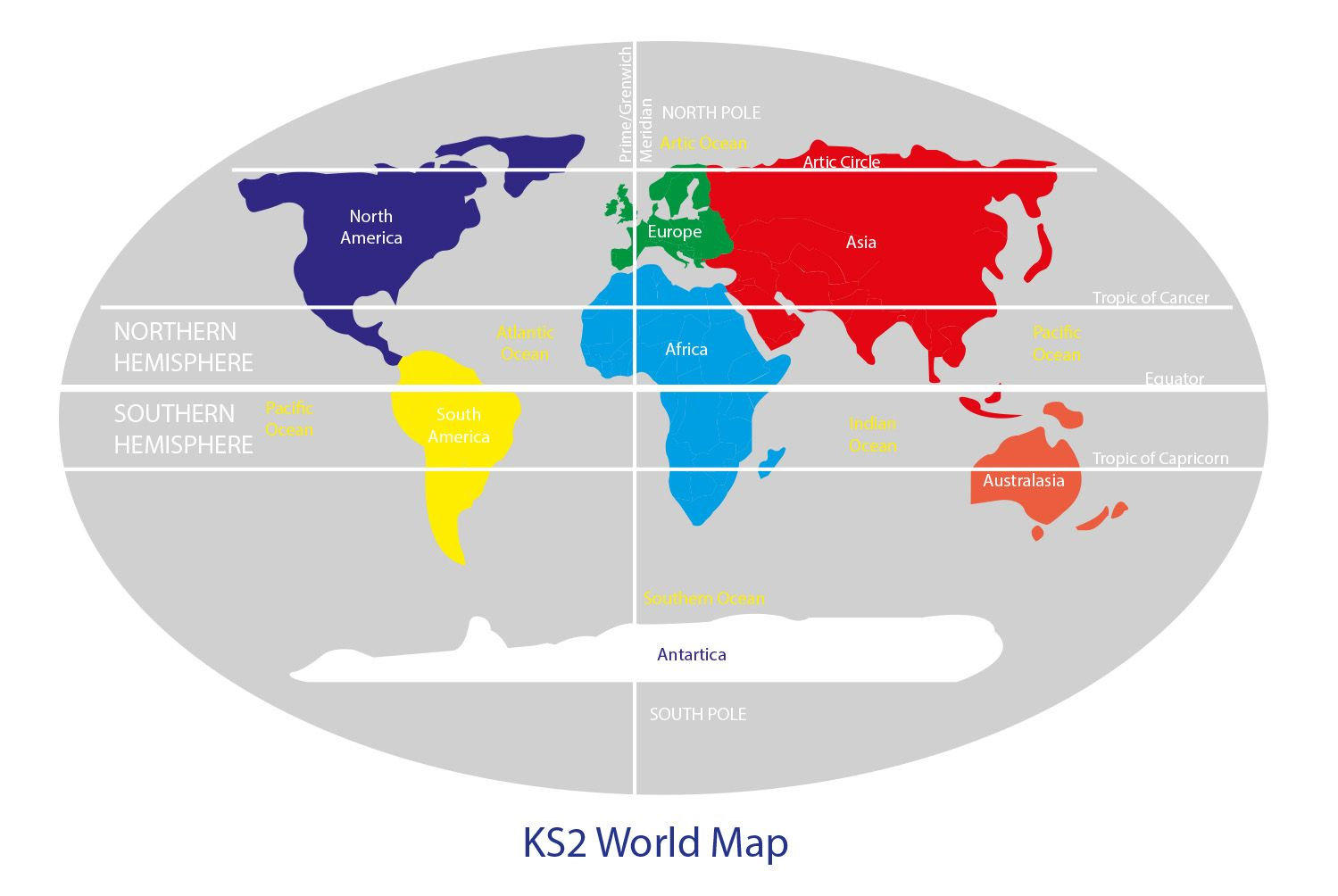 key stage 2 world map with continents  equator  northern and
