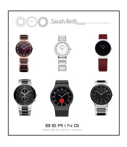 BERING WATCHES!  Lovely brand boasting a sleek sapphire glass, highlighted by ceramic, leather and stainless steel!  All Bering watches are ultra slim, meaning that the sit closer and flatter to your wrist, giving an entirely new look in comparison to other brands.