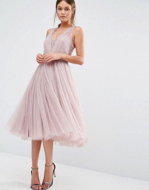26c9039004210 Little Mistress | Little Mistress Embellished Midi Dress with Tulle Skirt