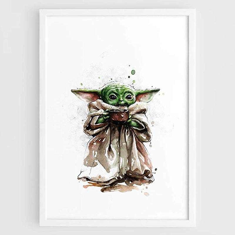 Baby Yoda Star Wars The Mandalorian Tv Series Little Yoda Art Print Christmas Gifts Wall Art Film Print Poster Watercolor Pai In 2021 Yoda Art Card Art Star Wars Art