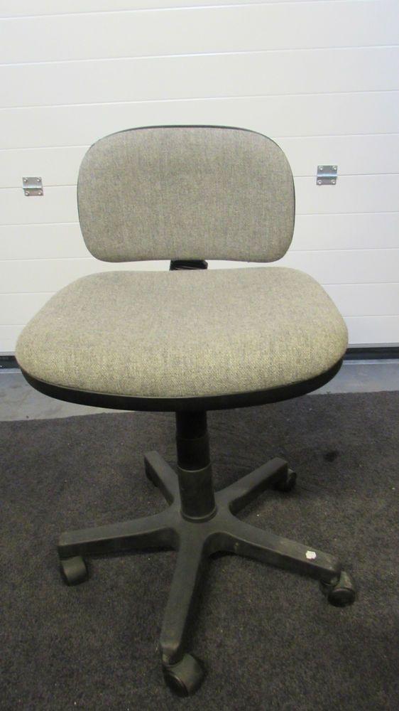 small grey low back computer chair light black plastic swivel wheel