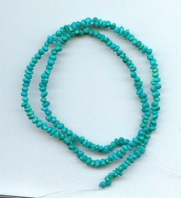 """Tiny Blue/Green Turquoise Loose Pebble Beads All Natural 15"""" Strand"""