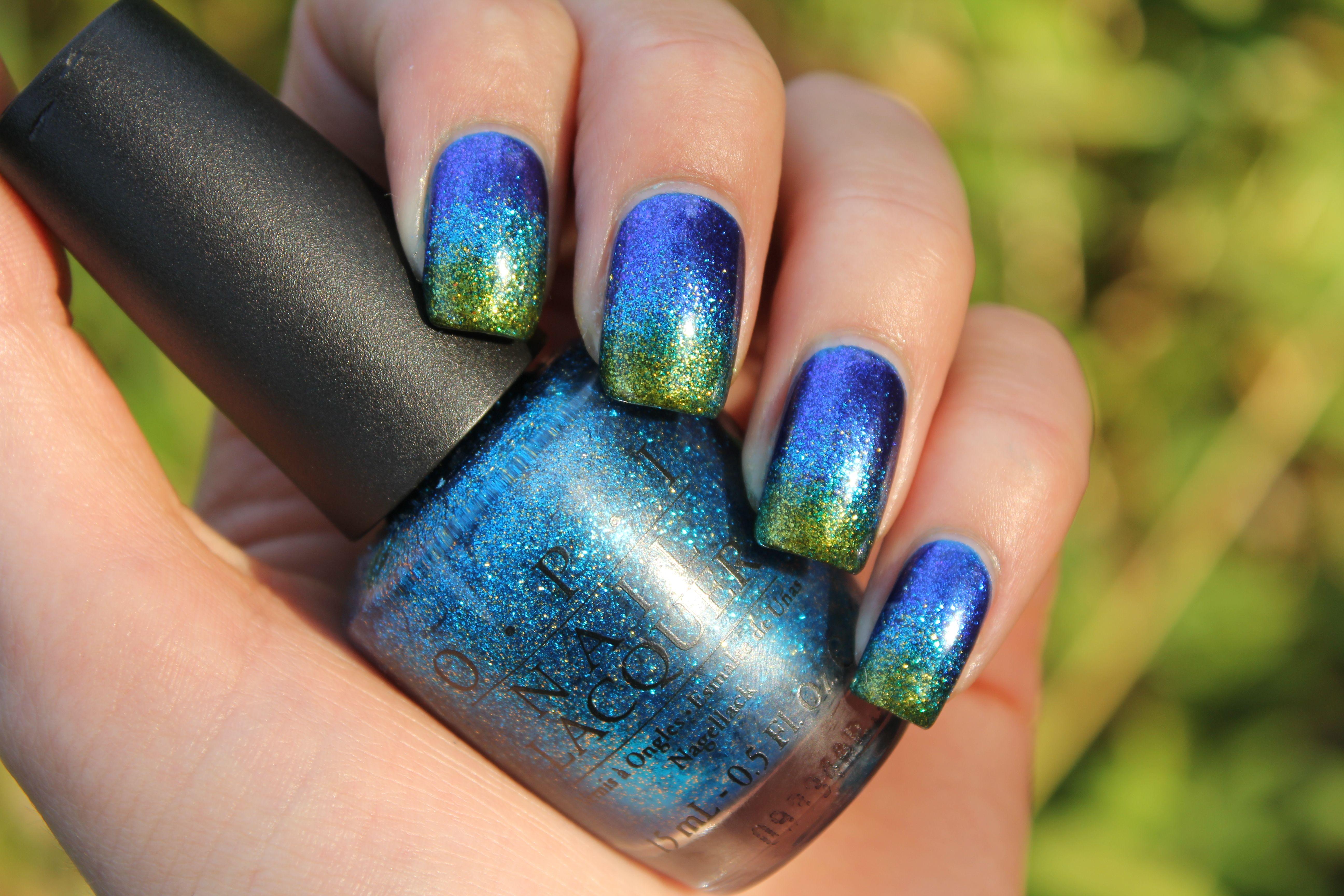 Blå/Grøn sponge gradient Cool nail art, Leopard nail art