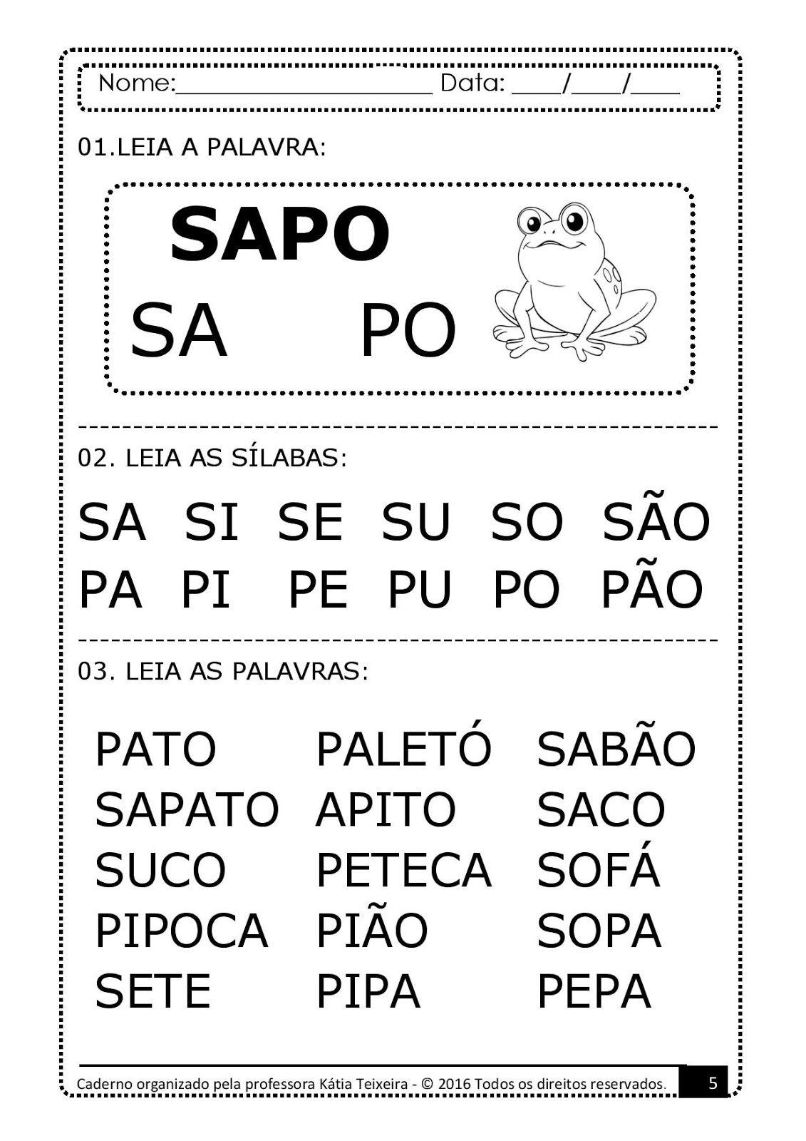 Amostras Cadernos 5 E 6 Coruja E Sapo Palavras Geradoras Letras