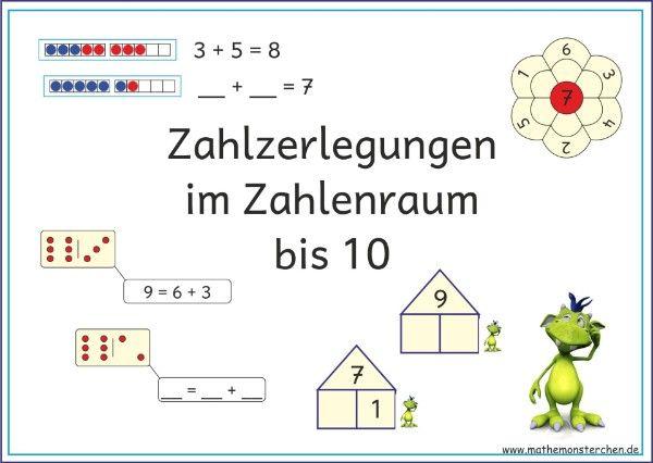 zahlzerlegung grundschulideen mathe unterrichten mathe und mathematikunterricht. Black Bedroom Furniture Sets. Home Design Ideas