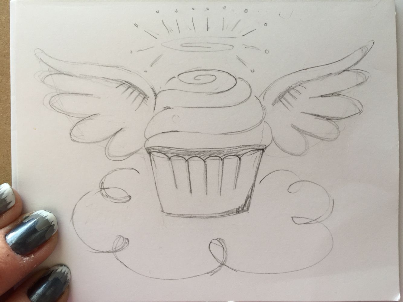 Pencil sketch angel cupcake for front of birthday card
