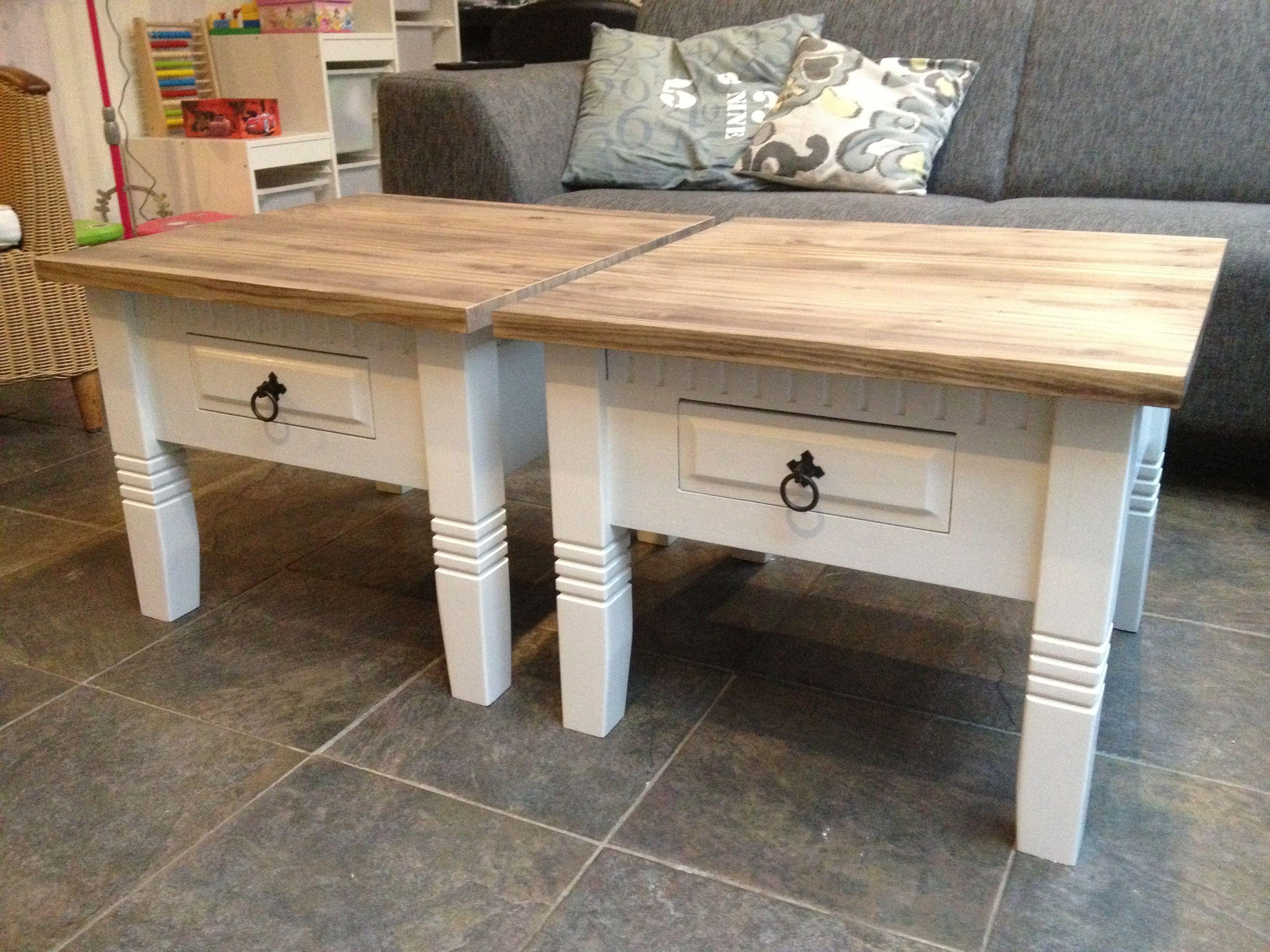 2 donkere tafeltjes mooi wit geschilderd en blad in driftwood stijl zelf gepimpte meubels - Witte meubels en rode ...