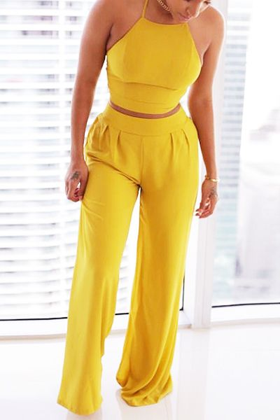 504e505e09 m.lovelywholesale.com wholesale-charming+round+neck+sleeveless+ruched+yellow +twilled+satin+two-piece+pants+set-g155748.html
