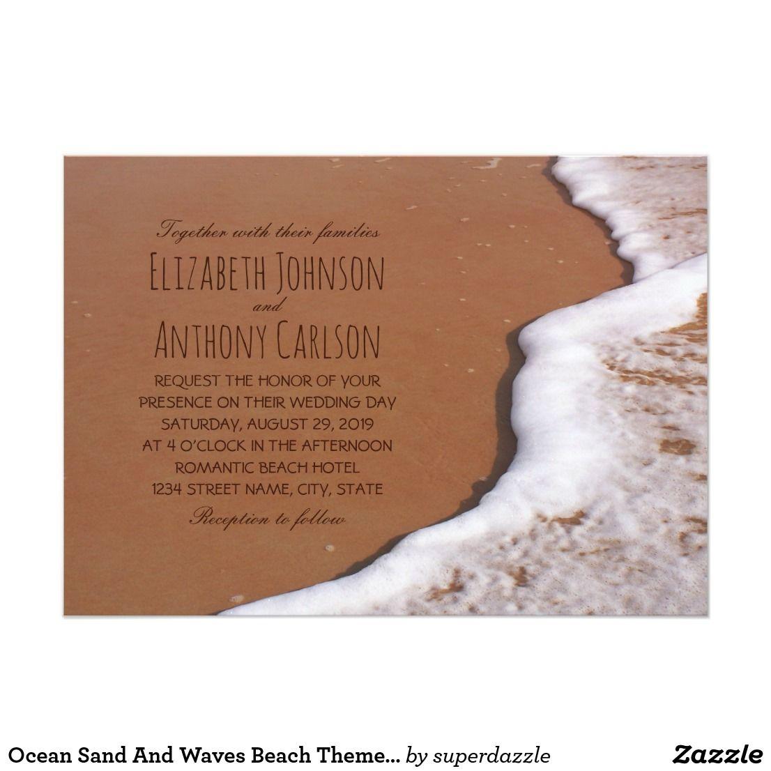 Ocean Sand And Waves Beach Themed Wedding Card Invites Wedding