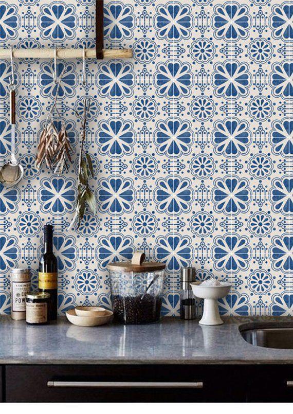 Mexican Domino Wallpaper in Indigo Blue Removable Vinyl