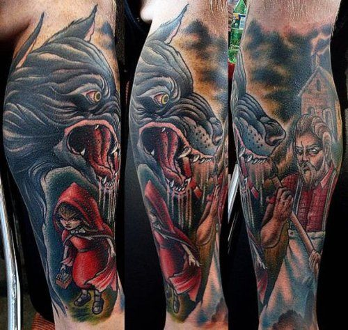 wolf male tattoo red riding hood 3d wolf man tattoo red 3d wolf tattoos pinterest male. Black Bedroom Furniture Sets. Home Design Ideas