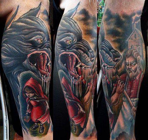 Wolf Male Tattoo Red Riding Hood 3d Wolf Man Tattoo
