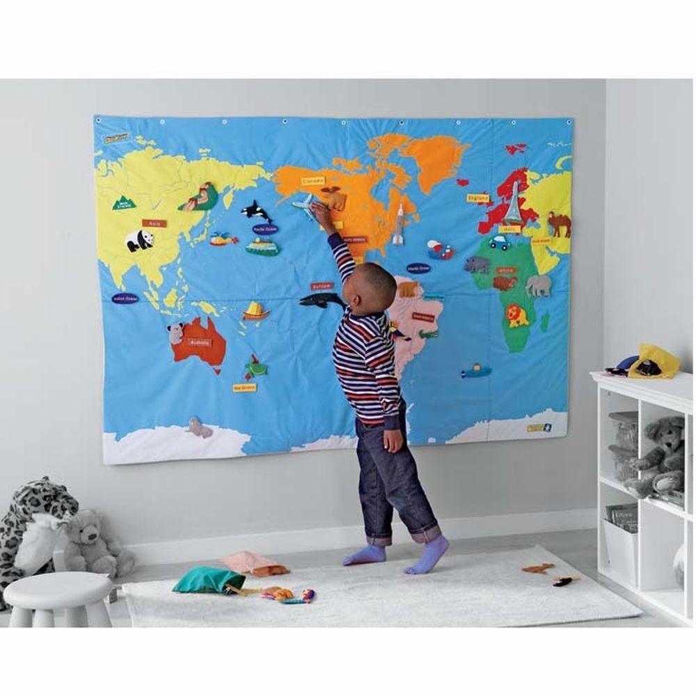 Geosafari Wonder World Wall Map Set For Kids Mapa Fieltro - World wall map kids