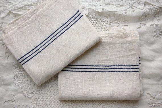Vintage French, Linen Hemp, Kitchen Towels, Kitchen Cloths, Tea Towels, Blue