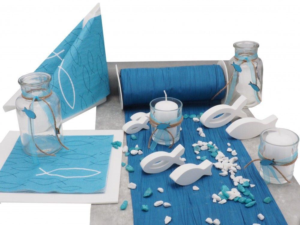 Tischdeko Kommunion Konfirmation Petrol Blau Grau Weiss Fisch Set 20