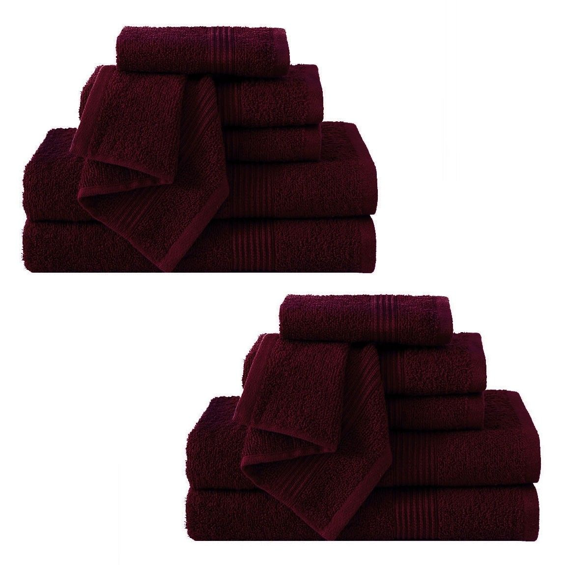 Vcny Ribbed Luxury 12 Piece Bath Towel Set Downtown Collection 100 Cotton Burgundy