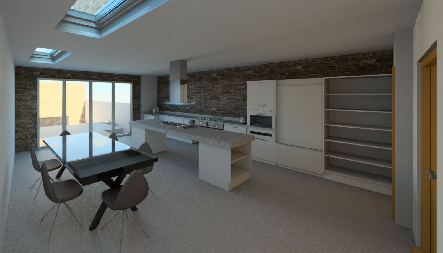 Queensmill Road Kitchen And Dining Room Render Revit By Shape Architecture Pinterestbest