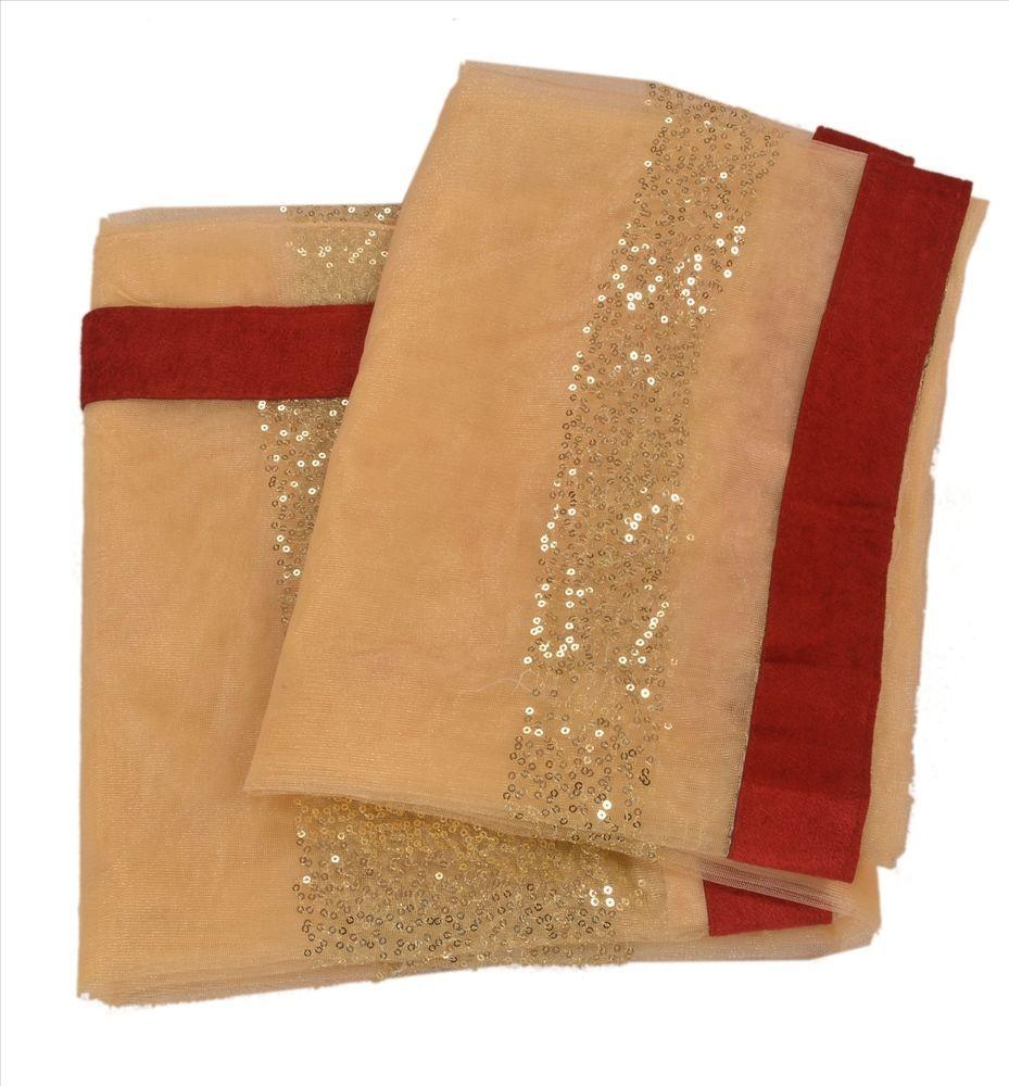 Sanskriti Vintage Indian Saree Net Mesh Embroidered Cream Craft Fabric Sari  #SanskritiVintage