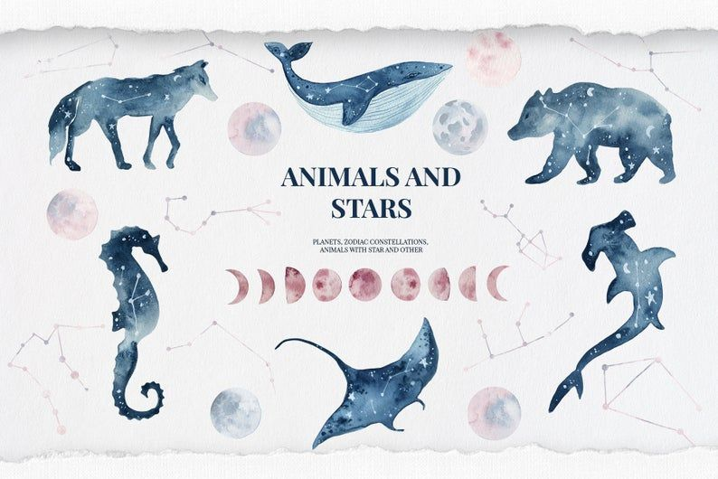Animals and stars collection watercolor constellation