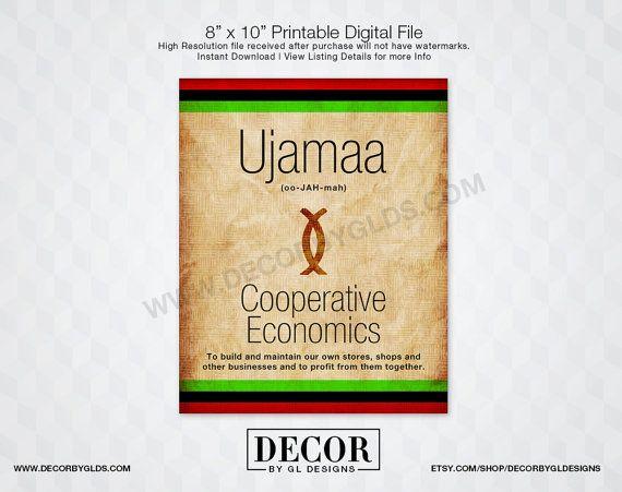 Ujamaa Kwanzaa Sign Printable Red, Black  Green Sign, Kwanzaa
