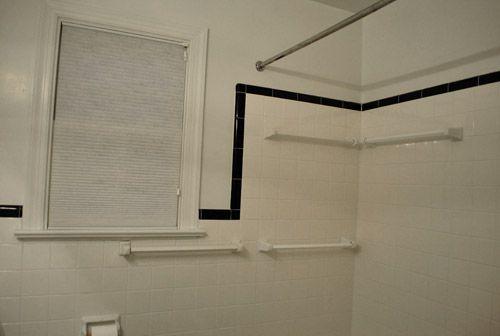 Classic white shower window trim. Bathroom ...