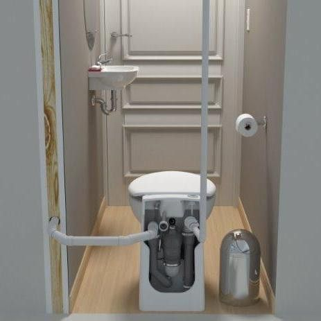 Elegant Saniflo SaniCompact Self Contained Upflush Toilet (W/ Built In Macerator +  FREE Toilet Seat)