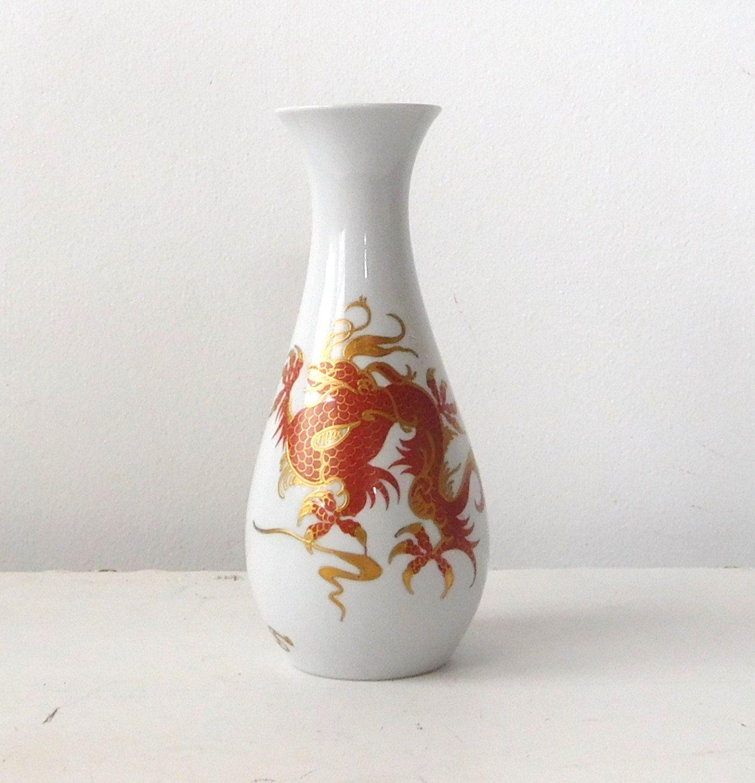 Wallendorf Porcelain White Vase Red Dragon Gold Trim Gold