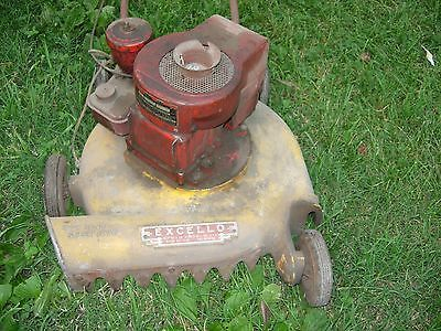 Antique Vintage Excello Push Lawn Mower Cast Aluminum W Briggs Stratton Motor