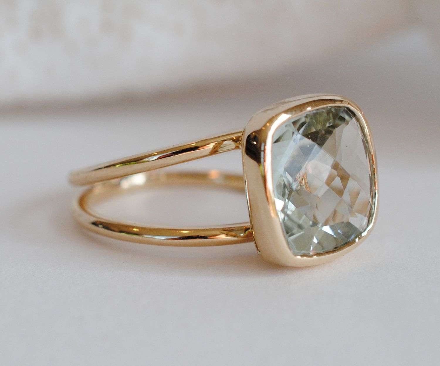 Green Amethyst 14k gold Cocktail RingCheckerboard Cut via Etsy