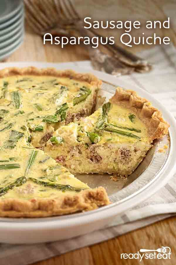 This breakfast quiche will complete the Easter brunch buffet! Mixed with spicy sausage and fresh spring asparagus for the ultimate egg dish this season!