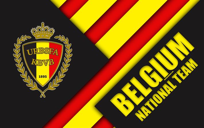 Download Wallpapers Belgium National Football Team 4k Emblem Material Design Black And Red Abstraction Logo Football Belgium Coat Of Arms Belgian Footb Belgium National Football Team National Football Teams Custom Soccer