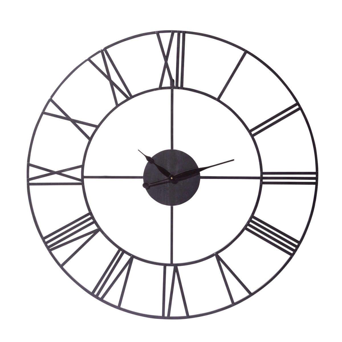 Metal Industrial Clock In Black D 107cm