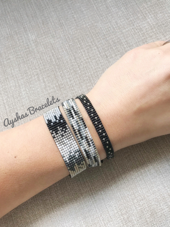 White Black Grey and Silver Miyuki Bracelet / Beaded Bracelet / Minimalist Style / Miyuki Bead Bracelet / M