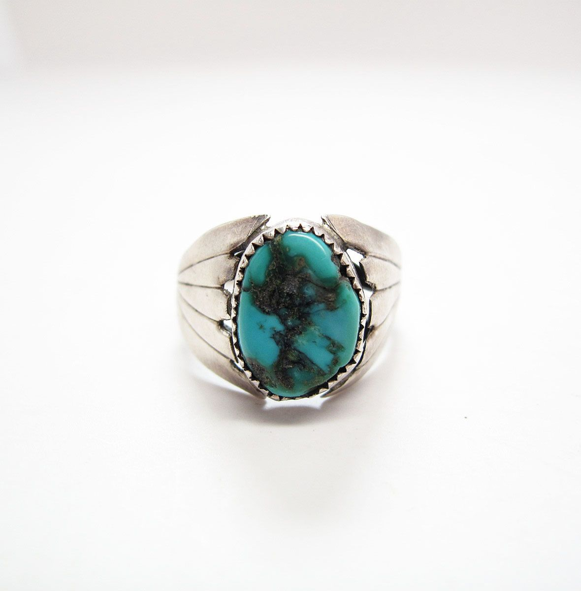 Vintage Native American 800 Silver Turquoise Ring Size 9 from thevintagegenie on Ruby Lane