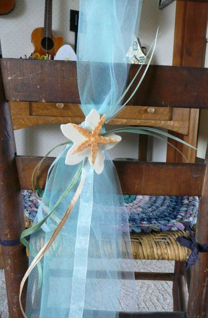 Starfish Tulle Chair Swag | DIY Tulle Wedding Decorations | Pinterest |  Starfish, Wedding And Beach Weddings