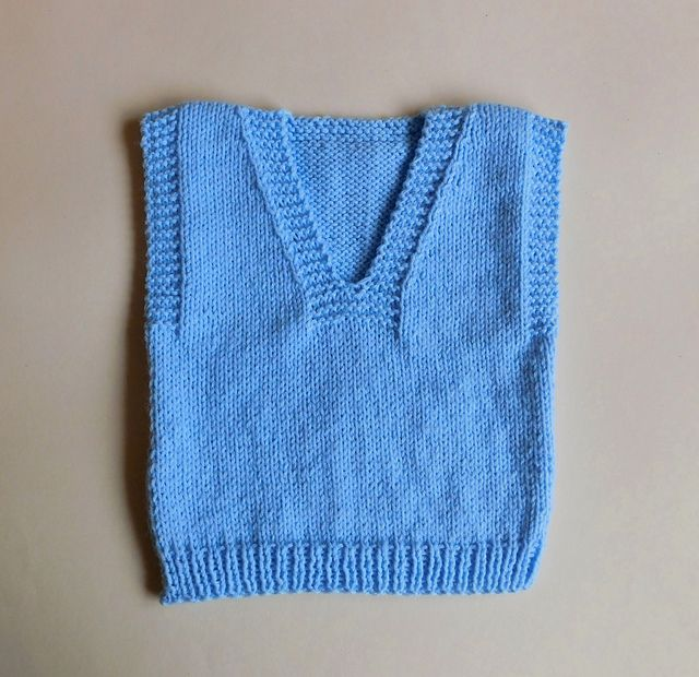 This is a really easy to knit sleeveless baby sweater ...