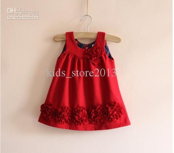 2017 Eu Au Baby Dress Kids Clothes 3d Flower Girls Dress ...