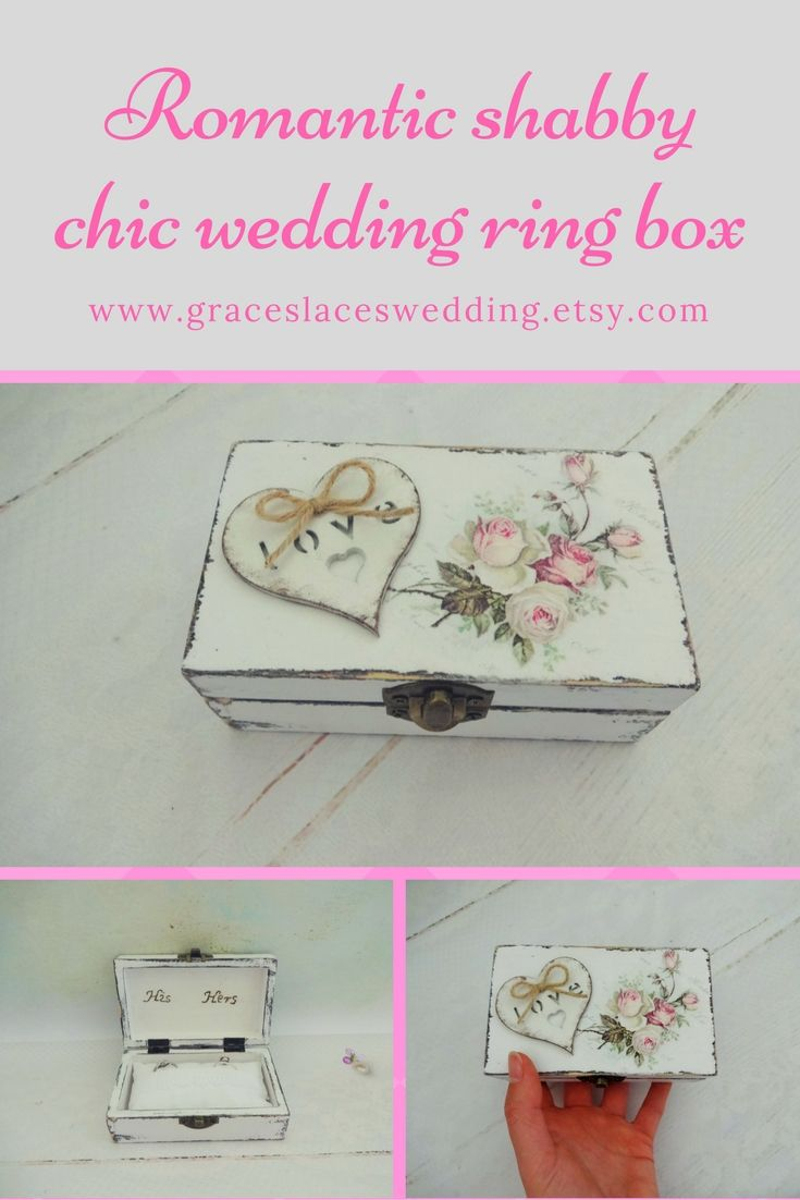 Double Wedding Ring Box Shabby Chic Ring Box Rustic Ring Box His
