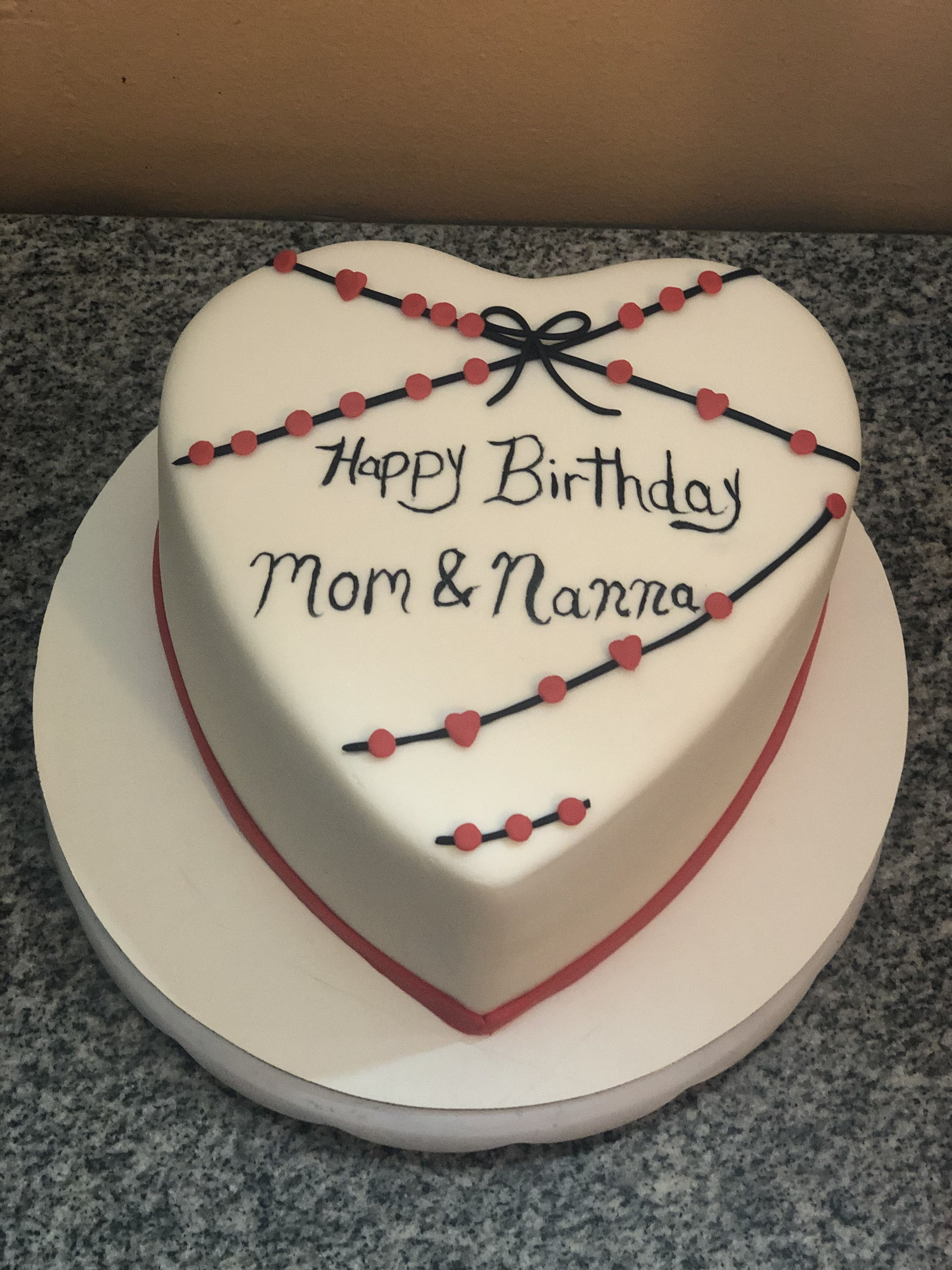 Saying Happy Birthday With This Delicious Heart Shape Cake For Mom