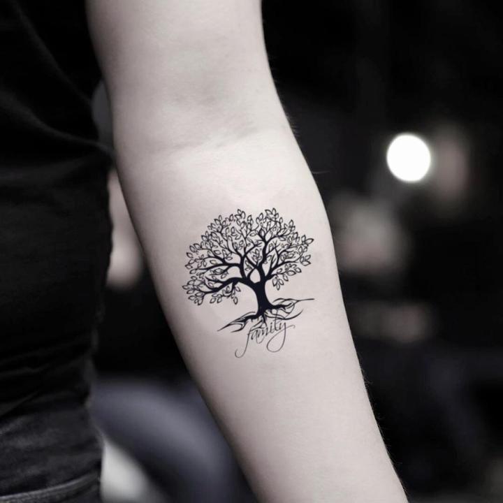Photo of Autocollant de tatouage temporaire arbre orienté famille (lot de 2)