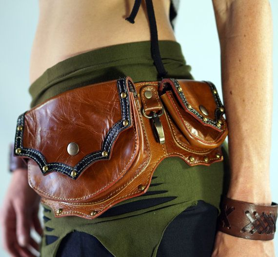 739a671d4 GRANDE - Handmade Leather Utility Belt With Pockets Renaissance Zootzu Hip Pouch  Belt Festival Burning Man Belt Steampunk Belt- Brown
