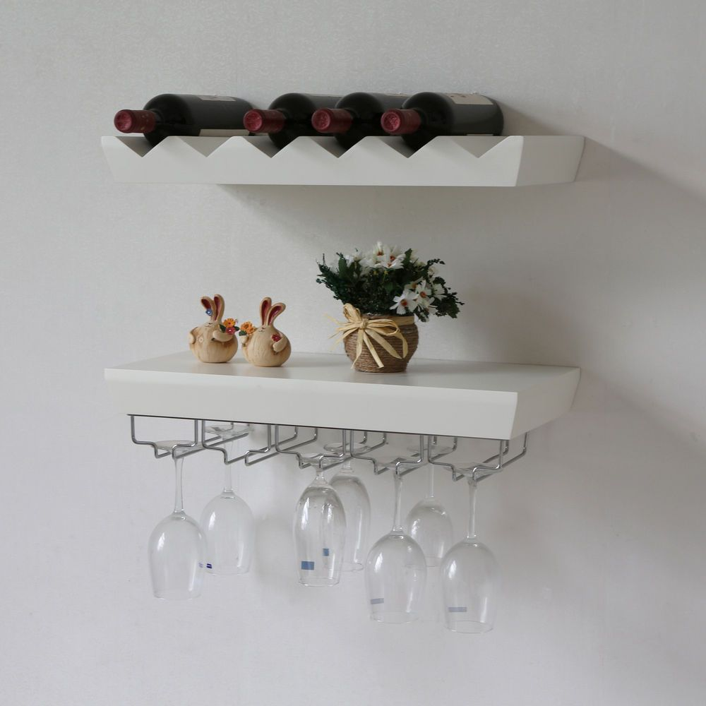 22 L X 11 W Inch Wall Mounted Wine Rack Shefl With Glass Holder In White Wall Mounted Wine Rack Wine Glass Rack Wine Rack