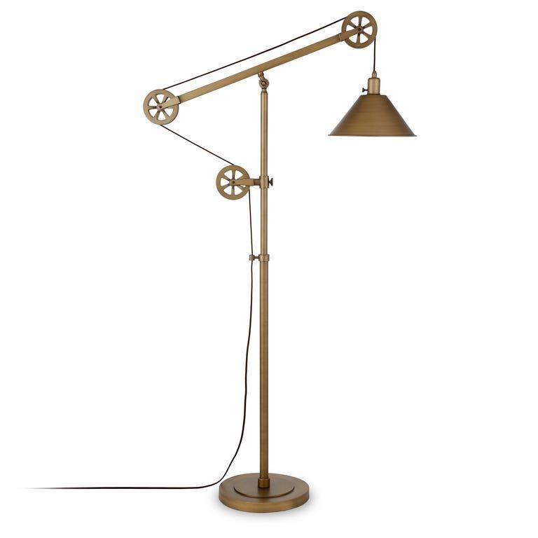 Diamanto Antique Brass Floor Lamp In 2020 Pulley Floor Lamp Swing Arm Floor Lamp Brass Floor Lamp