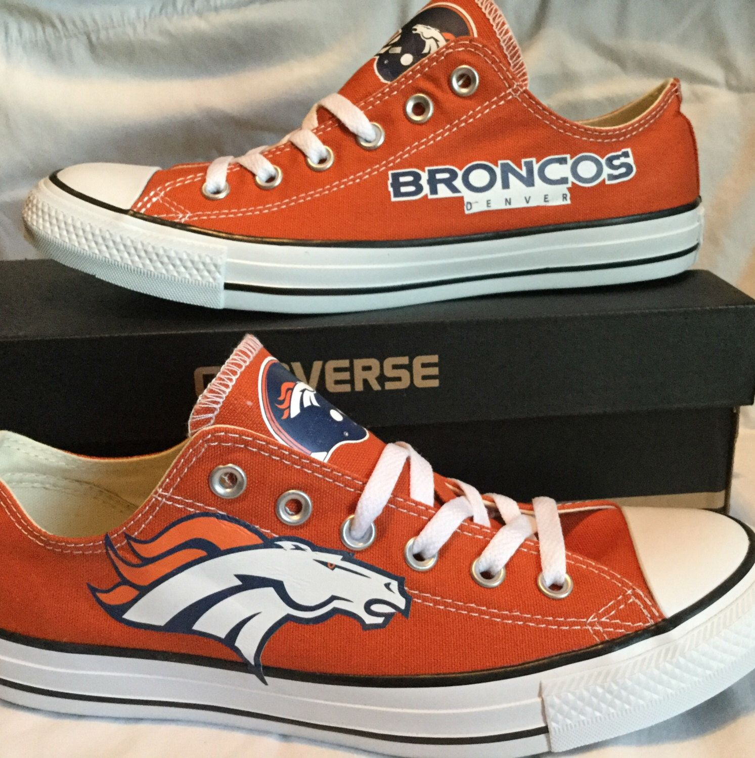 5c1fbec17121 Denver Broncos Converse Chuck Taylor Custom Made Sneakers NFL by  PimpMyKickz on Etsy https