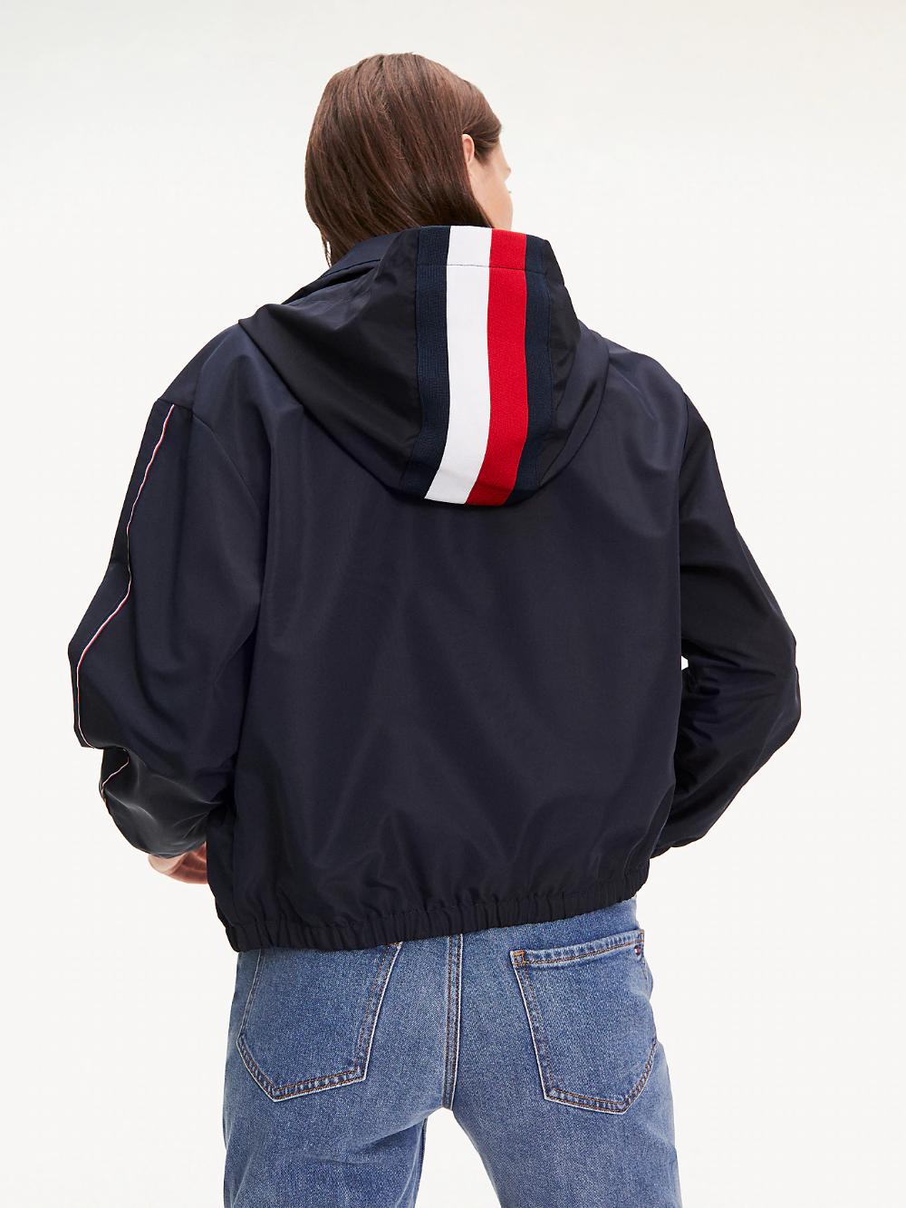 Funnel Neck Windbreaker Blue Tommy Hilfiger Outerwear Jackets Women S Coats Jackets Windbreaker [ 1333 x 1000 Pixel ]