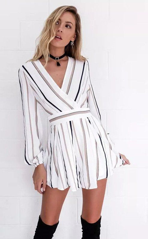 8e444a0219dd Striped Just Right Romper When floral isn t your thing opt for Stripes!  White