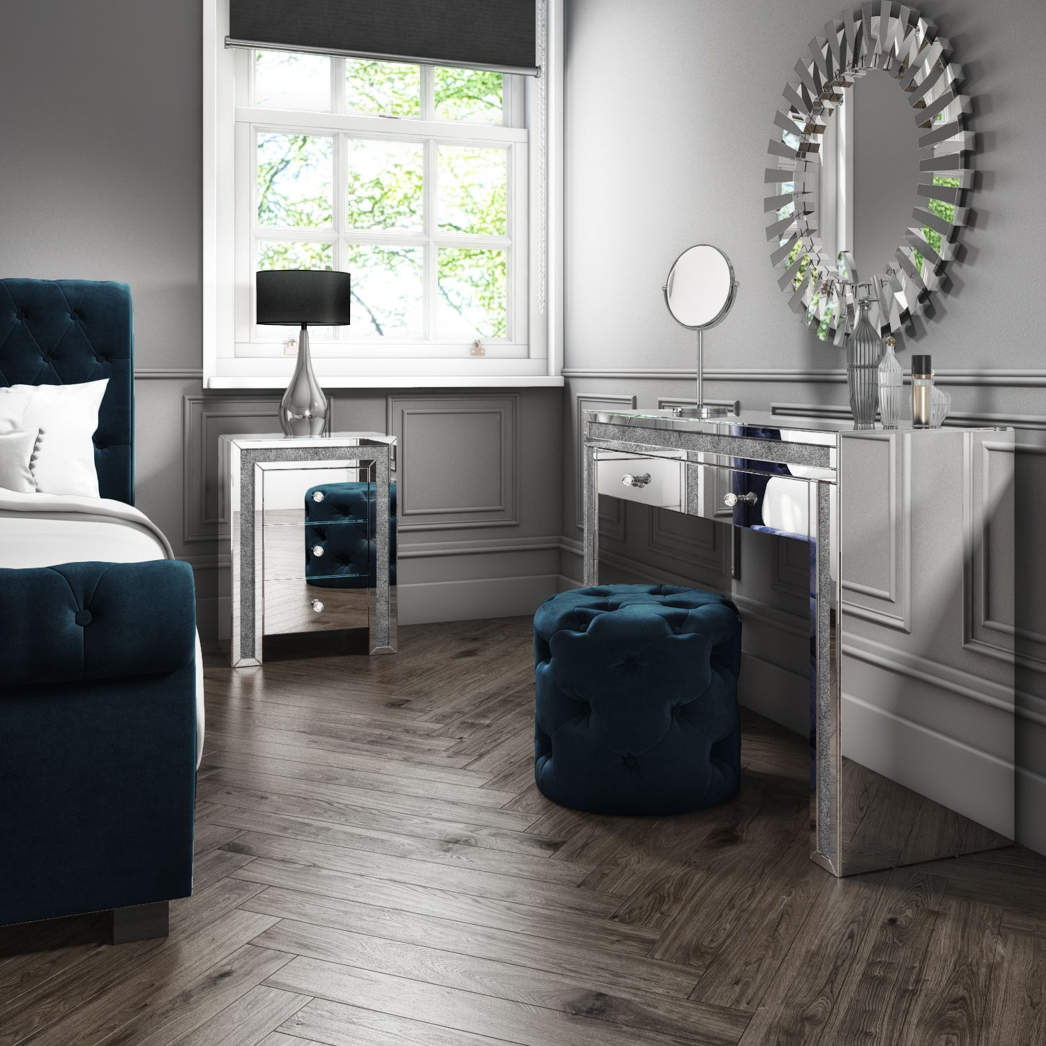 Mirrored Bedroom Furniture with Storage in Silver and