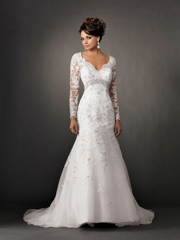 V Neck Lace Long Sleeves Mermaid Wedding Gowns | Dresses | Pinterest ...