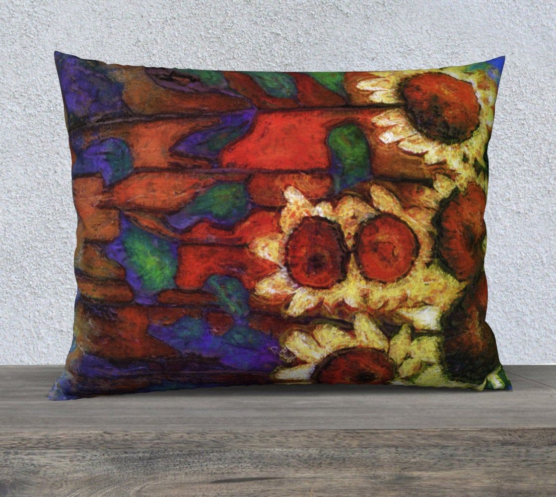 Sunflowers 20 x 26 inch Pillow Cover, Bed Pillow Cover, Standard Bed Pillow Size, Bedroom Pillow Case, Sunflower Art, Large Pillow Covers