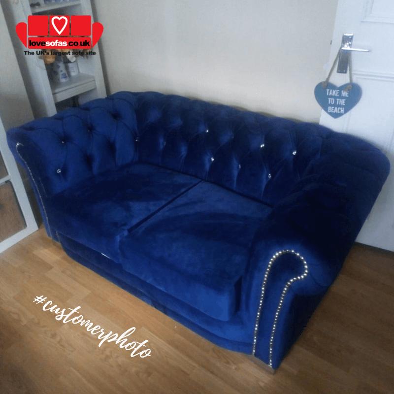 Velvet Chesterfield Marine Blue 3 Seater Sloane Sofa With Diamante Studs Lovely Sofas Sofa Velvet Chesterfield Sofa